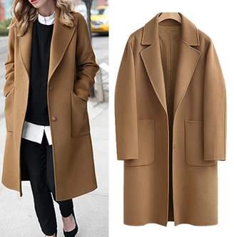 Kedera Women's Casual Long Sleeve Plus Size Lapel Outwear Trench Coat Cardigan
