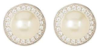Swarovski ADORNIA Sterling Silver 9mm Freshwater Pearl Crystal Accented Halo Stud Earrings