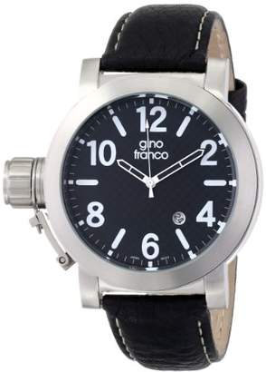 gino franco Men's 9617BK Westside Round Stainless Steel Genuine Leather Strap Watch