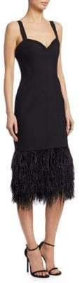 Cinq à Sept Sabine Feather Midi Dress