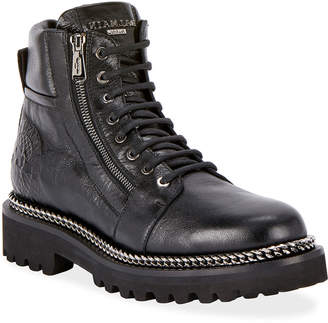Balmain Army Shiny Chain-Trim Boots