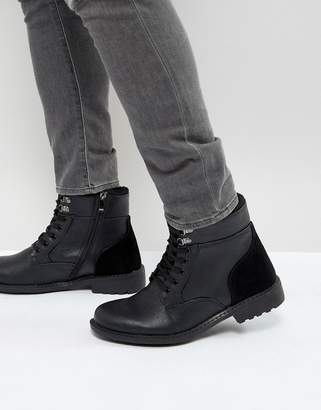 Brave Soul Lace Up Boots In Black