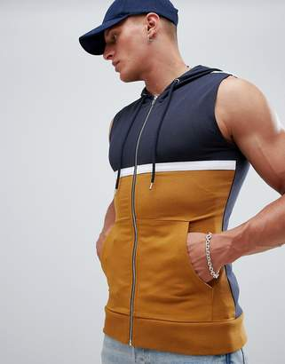 Asos Design DESIGN muscle sleeveless zip up hoodie with colour block
