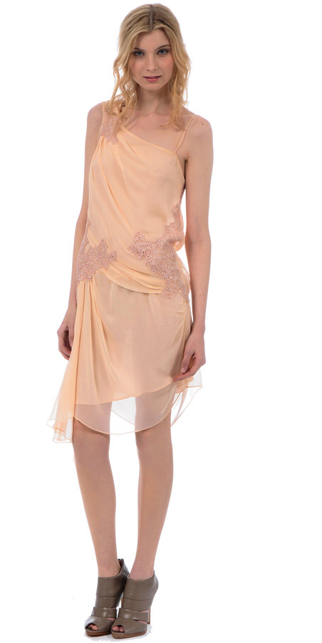 Gibson Girl One-Shoulder Dress Blush With Antique Ivory Lace
