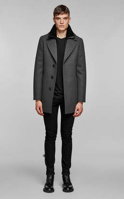 Mackage Dillon Flat Wool Coat With Sheepskin Collar