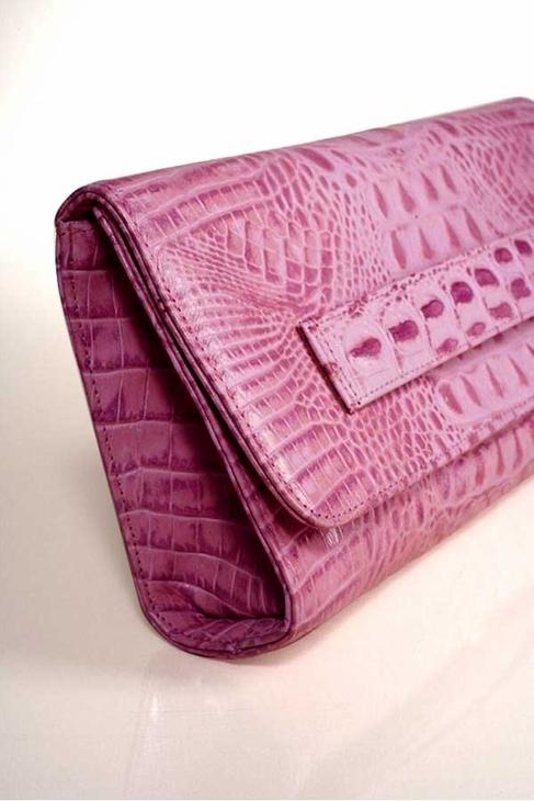 JJ Winters Leather Croco Clutch in Pink
