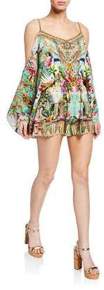 Camilla Cold-Shoulder Printed Silk Romper