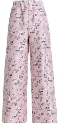 Vilshenko Cropped Jacquard Wide-Leg Pants