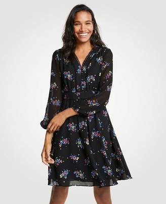 Ann Taylor Petite Floral Scallop Trim Flare Dress