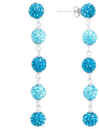 SPARKLE ALLURE Sparkle Allure Aqua Crystal 5 Pave Ball Silver Plated Drop Earrings