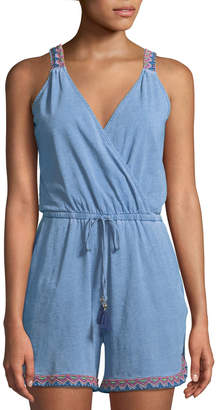 Neiman Marcus Embroidered-Trim Surplice-Neck Short Romper