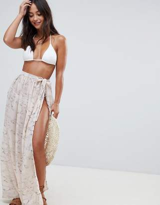 South Beach wrap beach sarong skirt in marble print