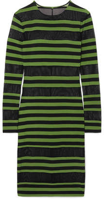 Norma Kamali Striped Stretch-jersey And Mesh Dress - Leaf green