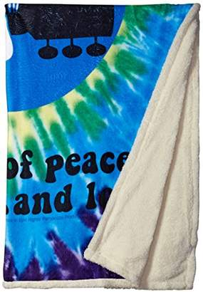 Liquid Blue Men's Woodstock Peace and Love Spiral Tie Dye Warm Throw Blanket