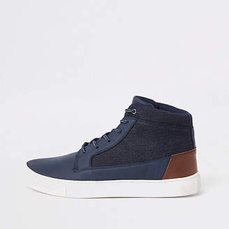 River Island Navy wide fit high top sneakers