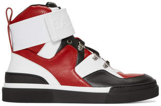 Balmain Red and Black Cleveland High-Top Sneakers