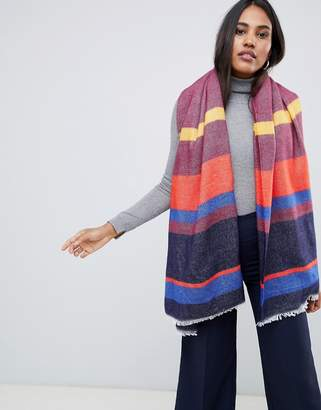 Oasis knitted scarf in multi-colored stipe