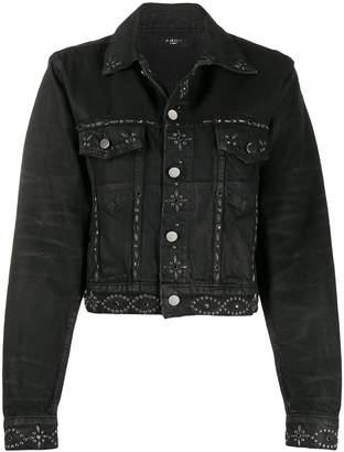 Amiri denim cropped studded jacket
