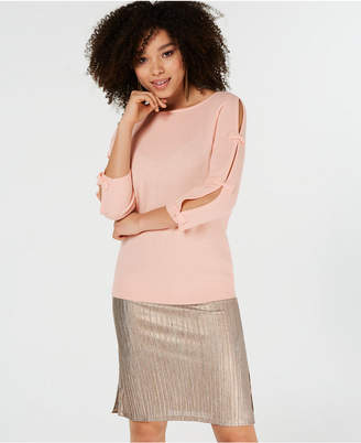 Charter Club Pure Cashmere Sweater with Bow Detail