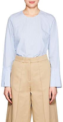 Barneys New York Women's Frayed-Hem Striped Cotton Poplin Shirt - Blue