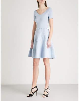 Sandro Scalloped stretch-knit mini dress