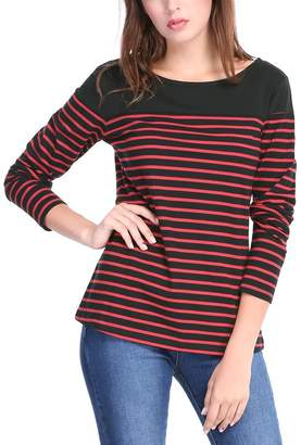 472568ef Allegra K Women's Classic Round Neck Stripes Long Sleeve Stretch T-Shirt M