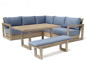 Kettler Ezra 6-Seat Garden Table and Chairs Corner Lounging Set, FSC-Certified (Acacia Wood)