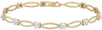 14k Gold Over Silver Diamond Accent Rope Link Bracelet