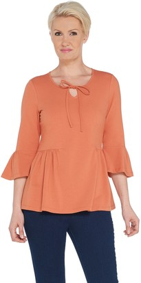 Denim & Co. Scoop Neck 3/4-Bell Sleeve Top w/ Shirring Detail