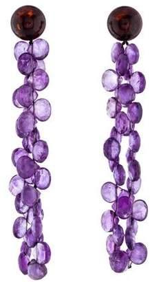 18K Amethyst & Amber Drop Earrings