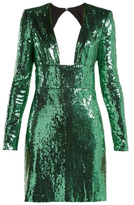 Dundas - Cut Out Back Sequined Dress - Womens - Green