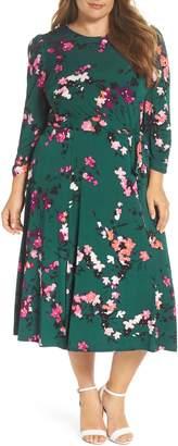 Eliza J Floral Print Midi Dress