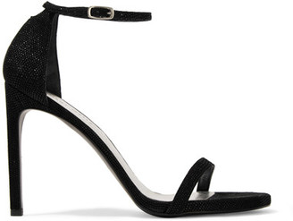 Stuart Weitzman - Nudistsong Coated Suede Sandals - Black $400 thestylecure.com