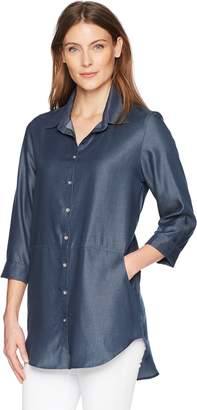 Haggar Women's Solid Button Front Tencel Blouse