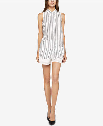 BCBGeneration Sleeveless Striped Lace-Up Shirt
