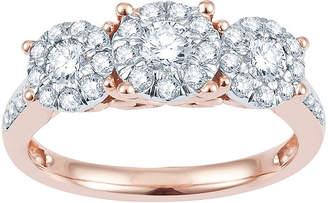 MODERN BRIDE 1 CT. T.W. Diamond & 10K Rose Gold Flower Engagement Ring