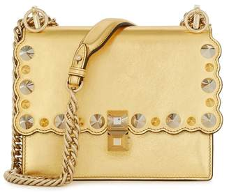 Fendi Kan I Small Gold Leather Shoulder Bag