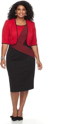 Plus Size Maya Brooke Asymmetrical Stripe Jacket & Dress Set