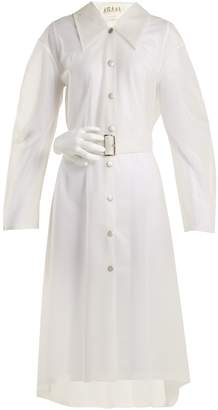 Awake Frosted-PVC sculpted hand-buckle trench coat
