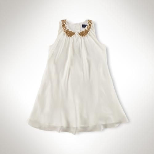 Beaded-Collar Swing Dress