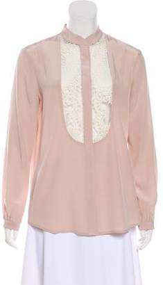 Mason Lace-Accented Silk Top