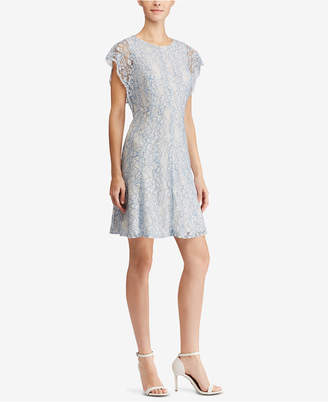 American Living Floral-Lace Flutter-Sleeve Dress
