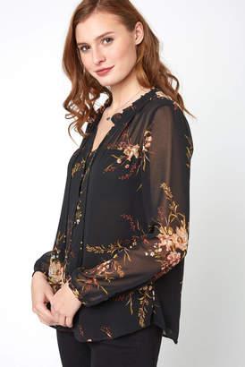 Daniel Rainn Sheer Floral Button Front Blouse
