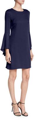 Milly Italian Cady Bell-Sleeve Dress, Navy $425 thestylecure.com