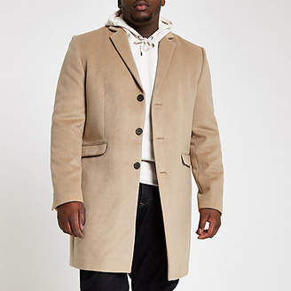 River Island Big and Tall light brown button down overcoat