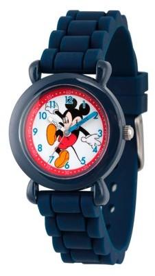 Disney Mickey Mouse Boys' Blue Plastic Time Teacher Watch, Blue Silicon Strap