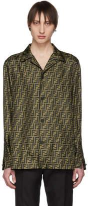 Fendi Brown and Black Silk Forever Pyjama Shirt