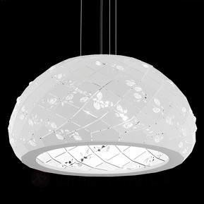 Kristallbesetzte Hängeleuchte Apta in Weiß, 53 cm