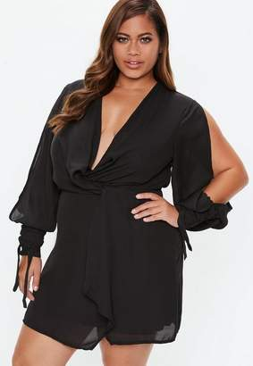 Missguided Plus Size Black Twist Front Tie Cuff Dress, Black