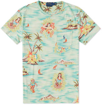 Polo Ralph Lauren Printed Hula Girl Pocket Tee